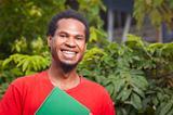 Happy dark skinned student