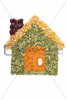 assorted beans forming a house