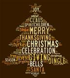 Christmas tree word clouds in brown background