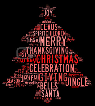 Christmas tree word clouds in black background