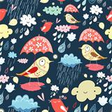 Autumn texture with birds and rain
