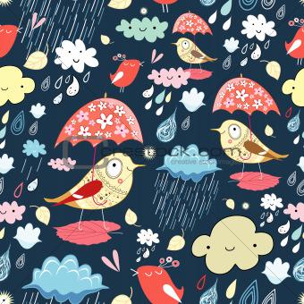 Autumn texture with birds and rain