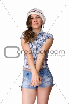 attractive girl isolated on white background