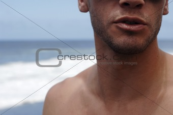 sexy mouth of young man