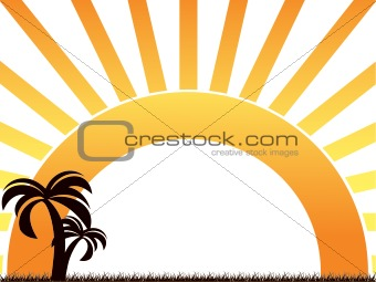 Abstract palm tree on rainbow background
