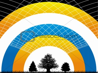 Abstract vector illustration of net waves on rainbow background