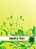 vector sample text on dark yellow background of floral design