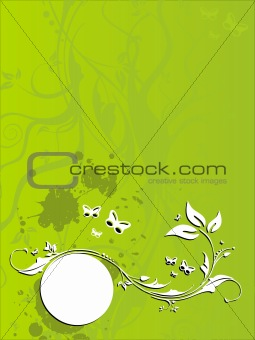 Vector floral grunge background with green and white butterfly