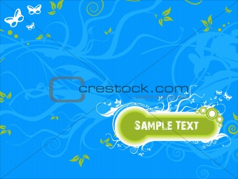 vector sample text floral grunge background in blue