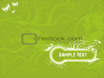 Vector sample text floral grunge background with butterfly