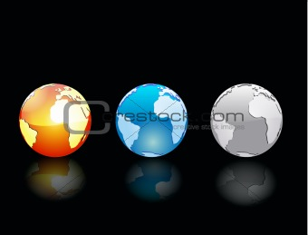 Black vector background with three globe