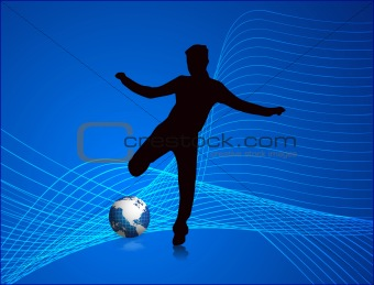 Foot globe with man vecter background 