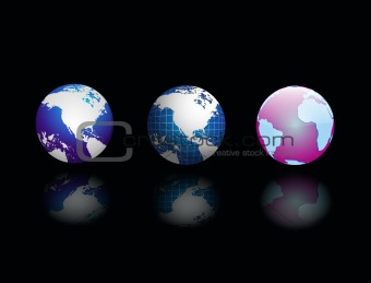 vector three globe on black abstract background