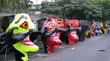 Ravana head effigies on the street