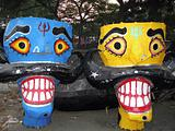 Colorful Ravana head effigies