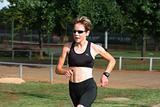 Female athlete training.