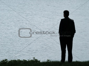 Man silhouette at evening