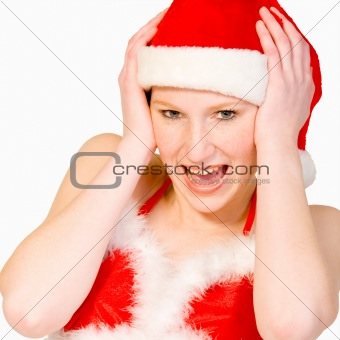 Beautiful christmas girl is screaming