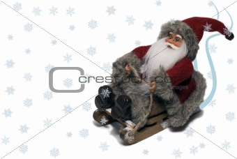Santa Claus on sledge with snow