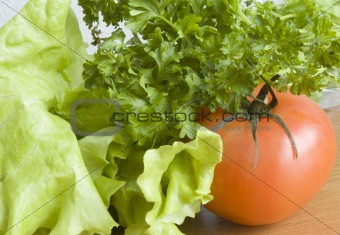 tomato, salad and parsley