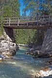Bridge cross River in Dolomites