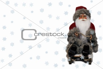 Santa Claus on sledge with snow 2