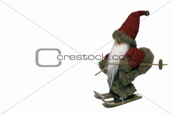 Santa Claus with ski - landscape - side view