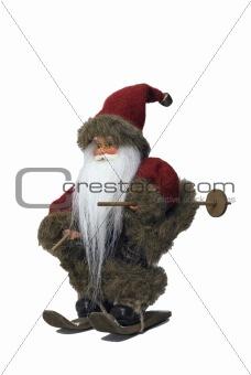 Santa Claus with ski - 45° view - portrait