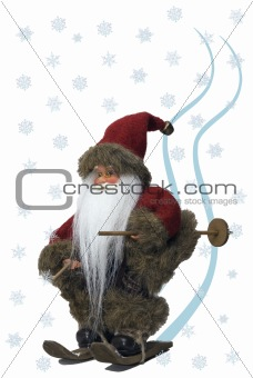 Santa Claus skiing in the snow