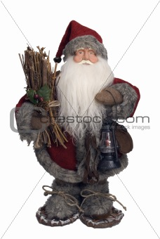 Santa Claus carrying firewood