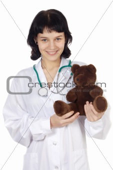doctor with teddy bear