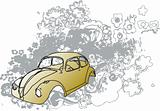 Grunge classic car illustration
