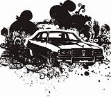 Grunge car illustration