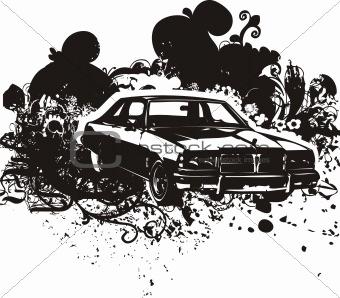 Grunge car illustration