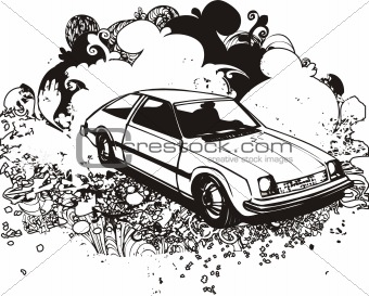 Grunge hatchback illustration
