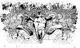 Cow skull grunge illustration