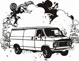 Black and white van illustration