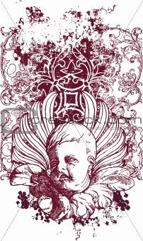 Grunge cherub illustration