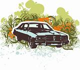 Grunge retro car illustration