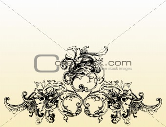 Grunge floral ornament illustration