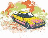 Grunge pink retro car illustration