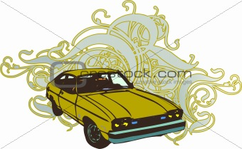 Green retro car illustration