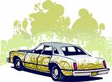Floral car illustration