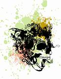 Splatter punk skull illustration