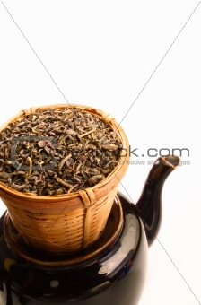 Green tea in strainer