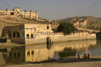 Amber Fort With Indian Women with Saris