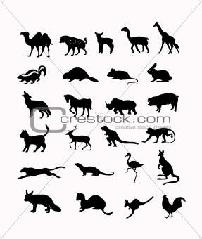 wild animals vector background in black