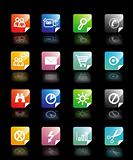 Set vector buttons in diffrent colors on black background with pictograms for web