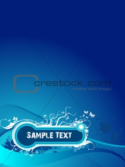Sample text floral grunge background in blue