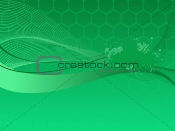 Vector grunge wave on green background, illustration